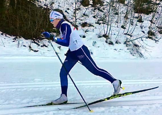 Christina Döringer auf der WM-Strecke in Oberstdorf